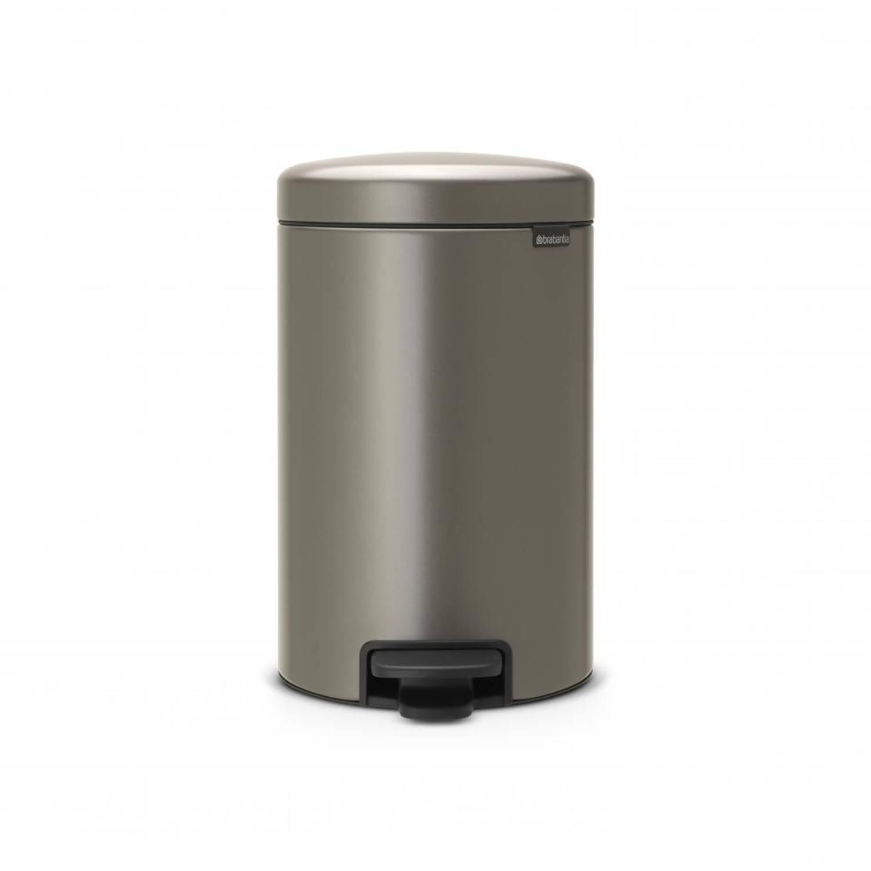 Brabantia newIcon pedaalemmer 12 liter met kunststof binnenemmer - Platinum