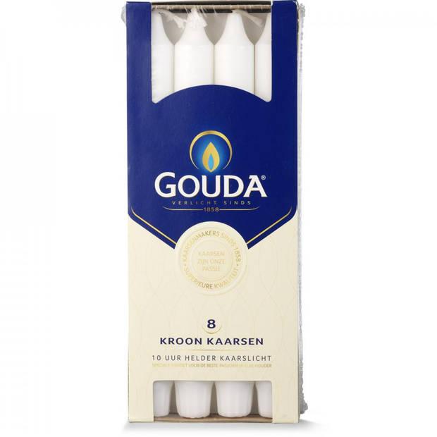Gouda kroonkaars - wit - doos met 8 stuks