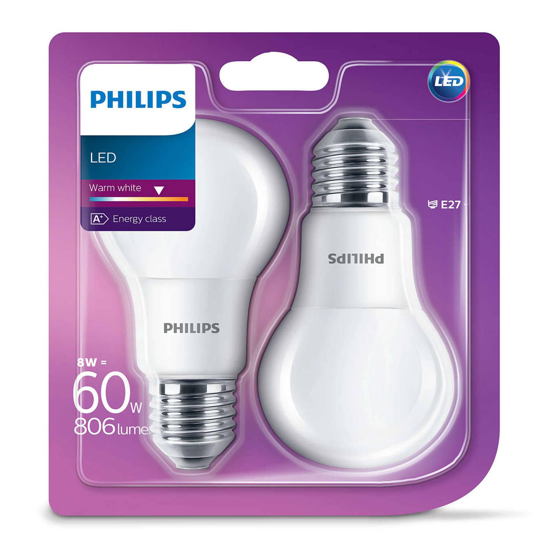 Philips ledlamp e27 8w 2700k extra warm wit (blister 2 stuks)