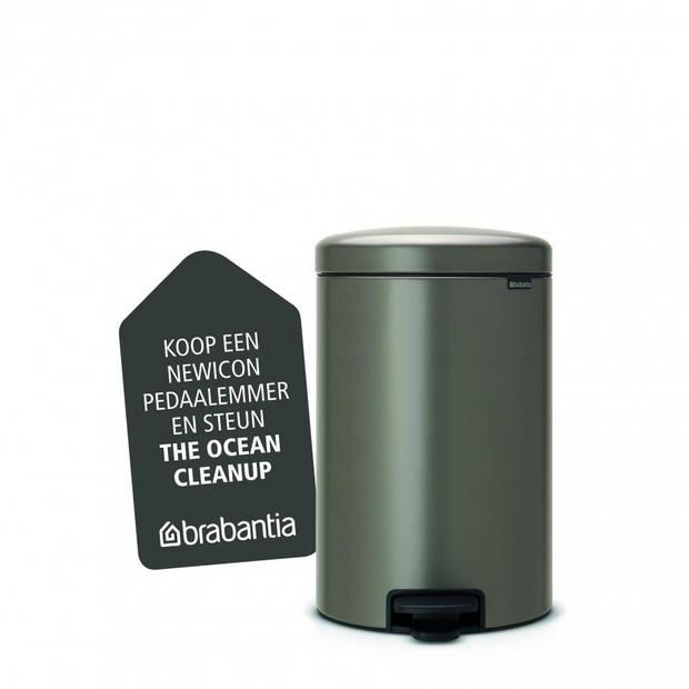 Brabantia newIcon pedaalemmer 20 liter met kunststof binnenemmer - Platinum