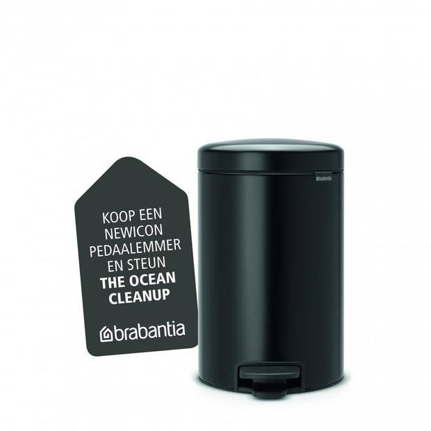 Brabantia newIcon pedaalemmer 12 liter met kunststof binnenemmer - Matt Black