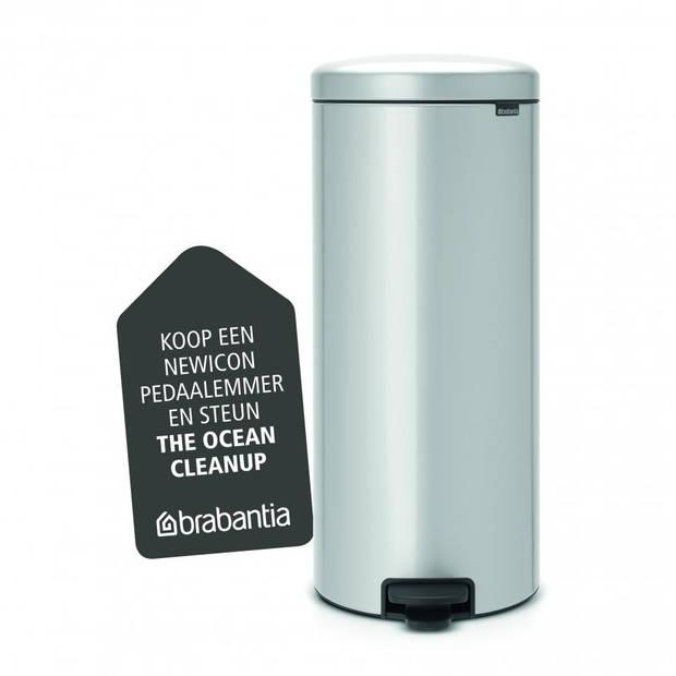Brabantia newIcon pedaalemmer 30 liter met kunststof binnenemmer - Metallic Grey