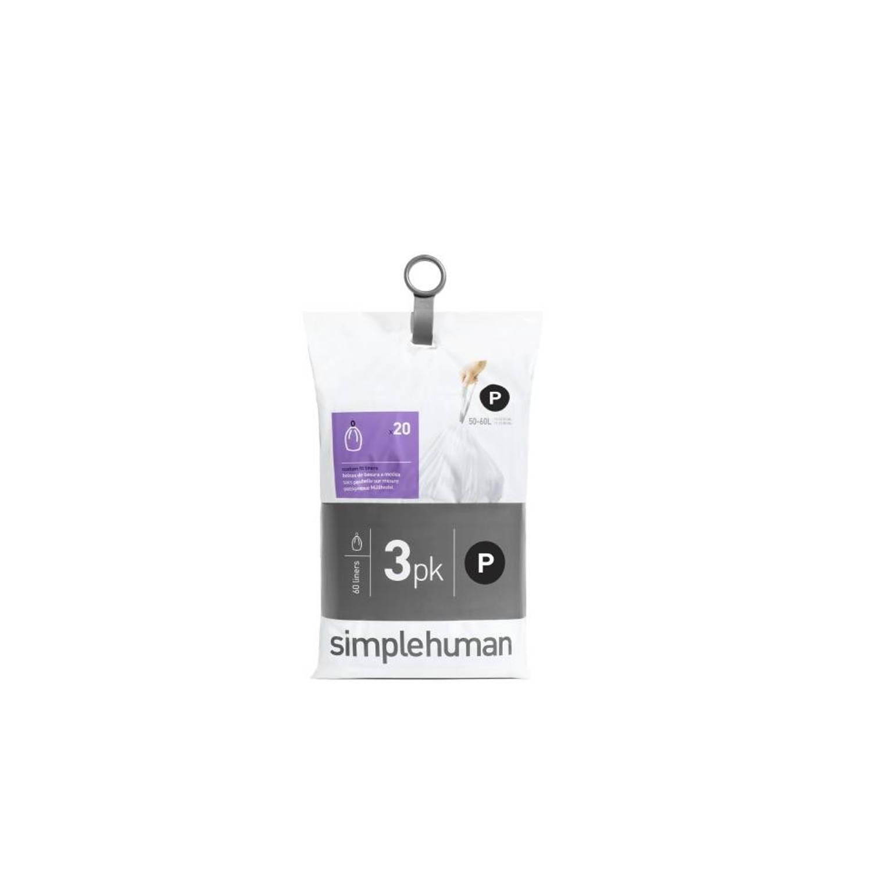 Simplehuman Pocket Liners Vuilniszakken Code P - 50-60 Liter - 3 X 20 Stuks