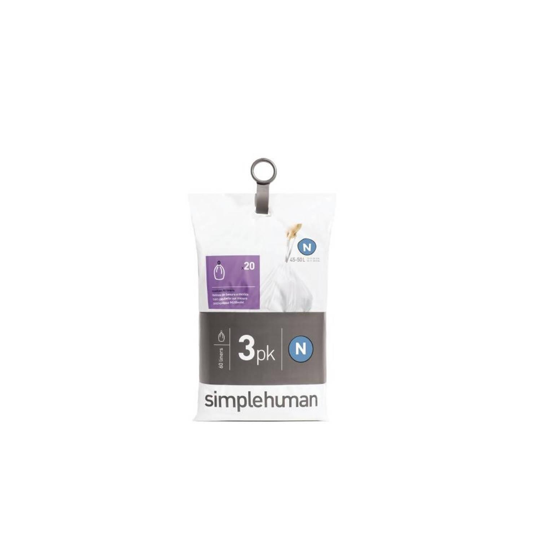 Simplehuman Pocket Liners vuilniszakken Code N - 45 liter - 3 x 20 stuks