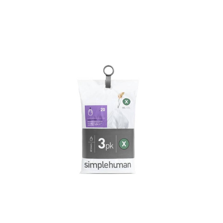Simplehuman Pocket Liners vuilniszakken Code X - 80 liter - 3 x 20 stuks