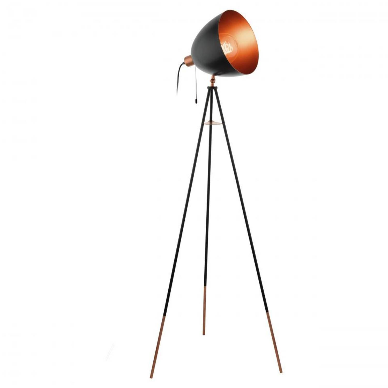 EGLO Chester vloerlamp - E27 - zwart/koper