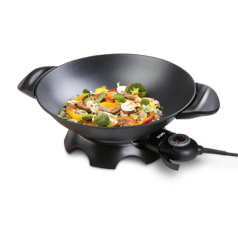 DOMO DO8708W Elektrische wok, 35,5 cm, 5L inhoud, gegoten aluminium
