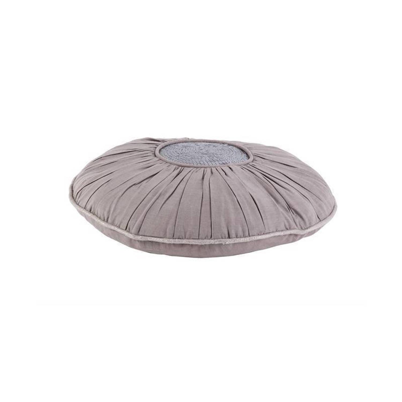 Walra Mette sierkussen - 100% katoen - 40 cm Ø - Grijs, Midden Grijs