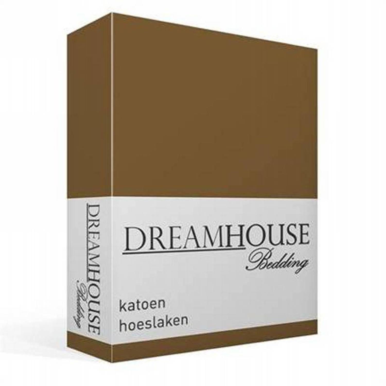 Dreamhouse Bedding katoen hoeslaken - 100% katoen - 1-persoons (70x200 cm) - Taupe