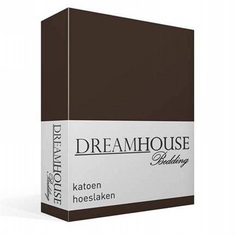 Dreamhouse Bedding katoen hoeslaken - 100% katoen - Lits-jumeaux (200x220 cm) - Bruin