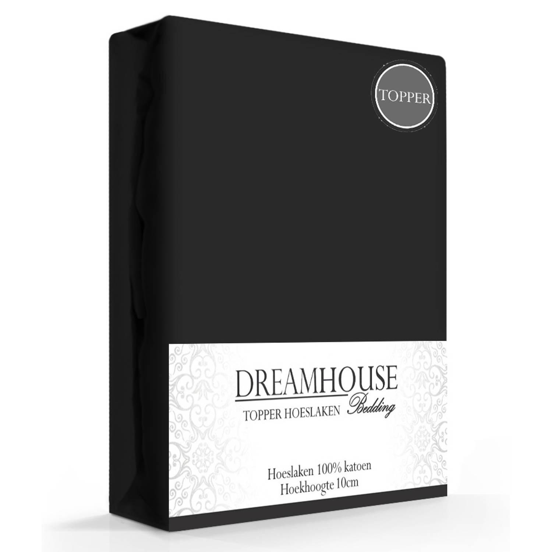 Dreamhouse Topper Hoeslaken Katoen Zwart-160 x 220 cm