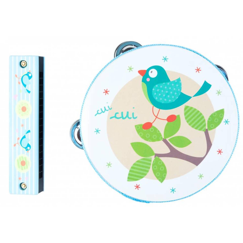 Afbeelding van Angel Toys tamboerijn en mondharmonica vogel - blauw
