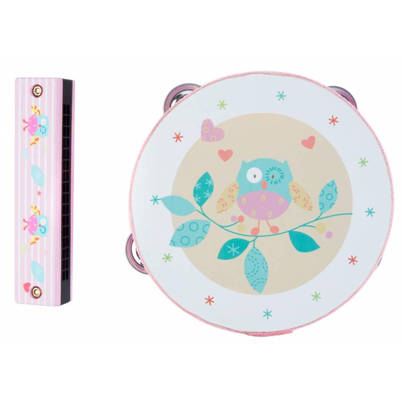 Afbeelding van Angel Toys tamboerijn en mondharmonica uil - roze