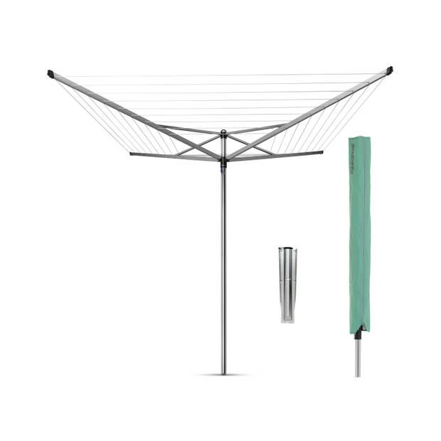 Brabantia Topspinner droogmolen - 50 m - met metalen grondanker en beschermhoes