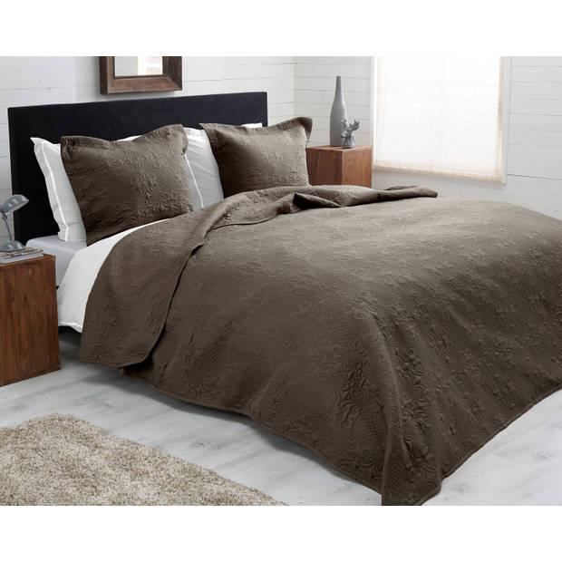 Sleeptime Bedsprei Clara Taupe 260x250 + 2 kussenslopen 60x70 Taupe