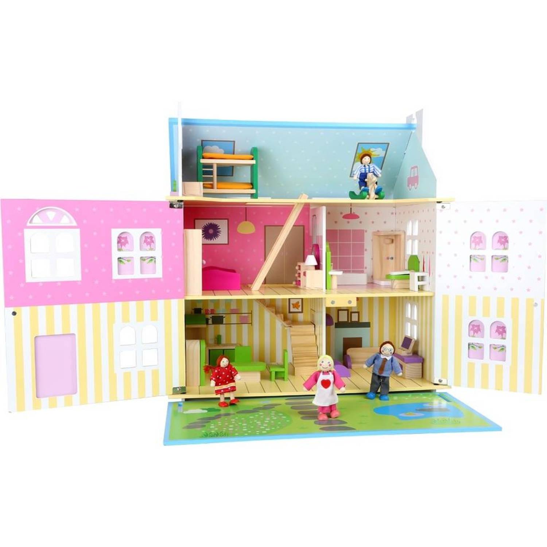 Small foot poppenhuis meisjes blauw hout 55 x 36 x 60 cm for Poppenhuis meisje