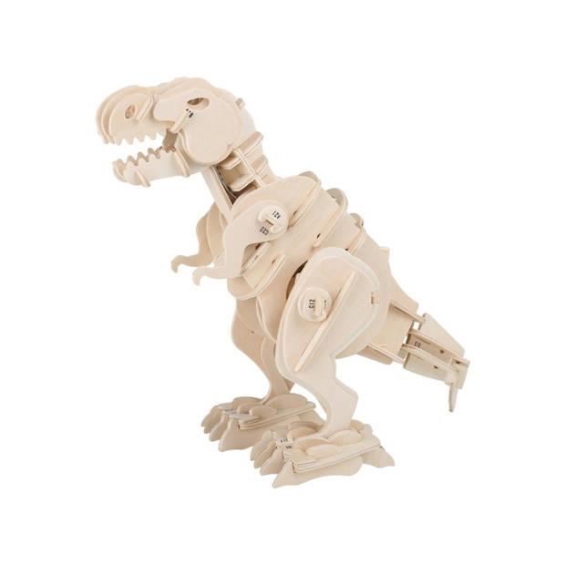 Bouwpakket hout dino T-Rex met afstandsbediening