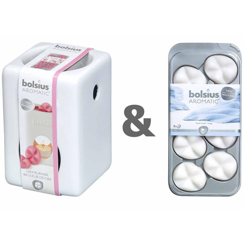 Bolsius Wax brander set met aromatische wax Fresh Linnen 107790501858