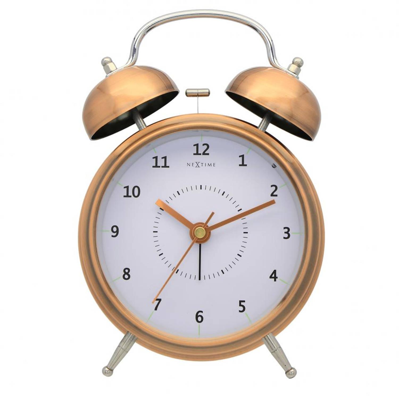 NeXtime Wake Up wekker - wit/koperkleurig