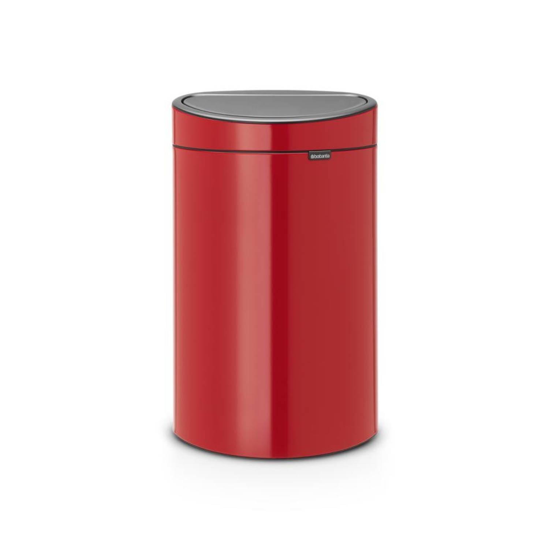 Brabantia Touch Bin afvalemmer 40 liter met kunststof binnenemmer - Passion Red