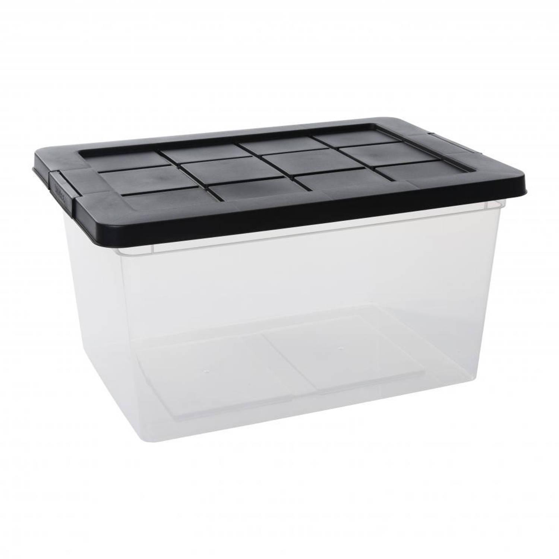 Blokker opbergbox met deksel en sluitclips - 45 l