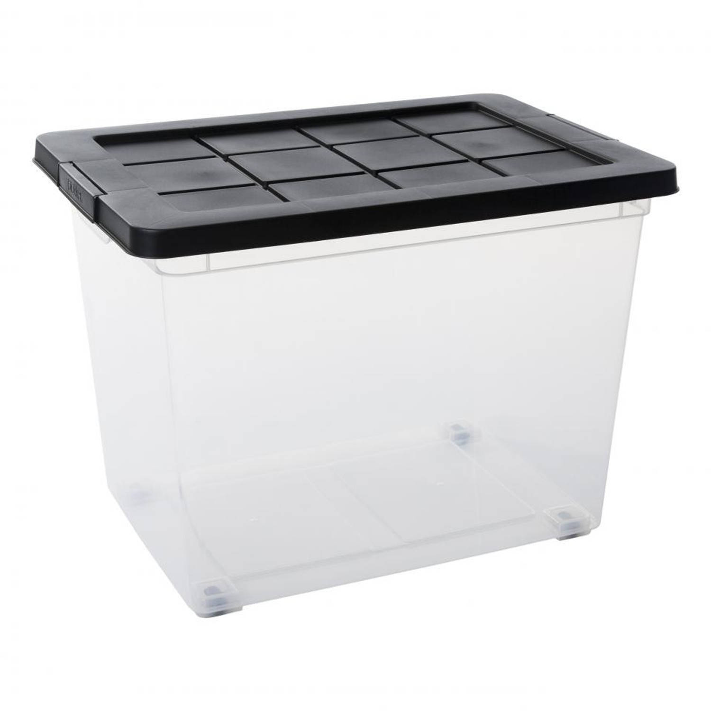 Blokker opbergbox met deksel en sluitclips - 60 l