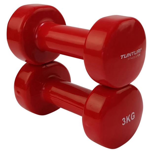 Tunturi vinyl dumbbells set 3.0 kg rood - pair