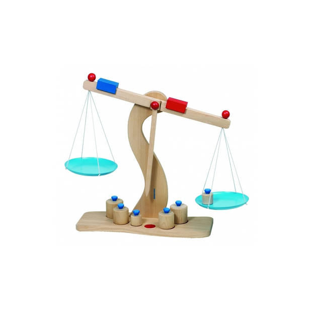 Goki Houten Weegschaal Met 6 Gewichtjes 30 X 10 X 31 cm