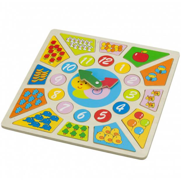 New Classic Toys klokpuzzel Educational 30 x 30 cm hout 3-delig