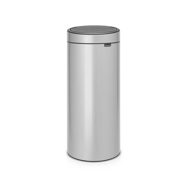 Korting Brabantia Touch Bin afvalemmer 30 liter met kunststof binnenemmer Metallic Grey