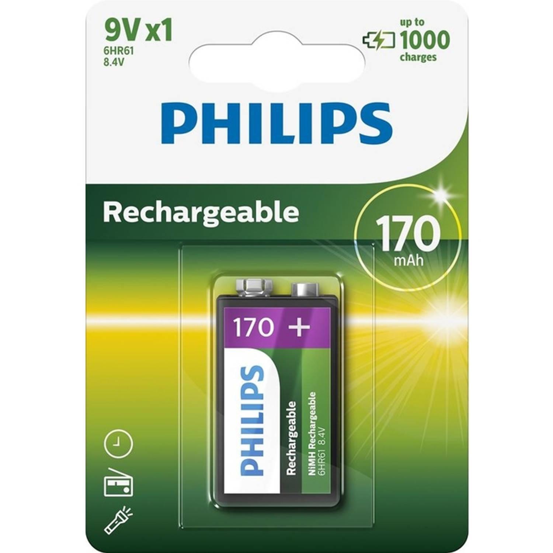 Philips 9VB1A17 - Oplaadbare 9V batterij - 1 stuk