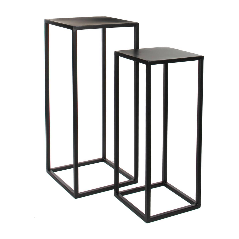Mica Decorations bijzettafel Goa - 30 x 30 x 70 cm - metaal - zwart - set van 2