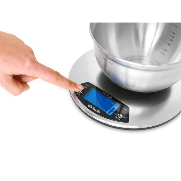 Brabantia Keukenweegschaal digitaal met kookwekker, op batterijen - Matt Steel