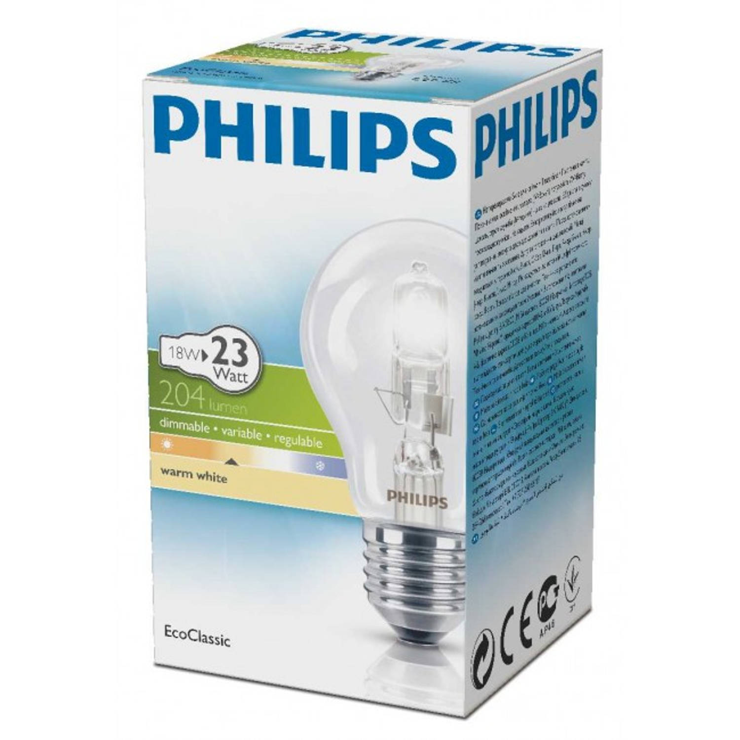 Philips EcoClassic halogeenlamp 230 V 18 W E27 warm wit