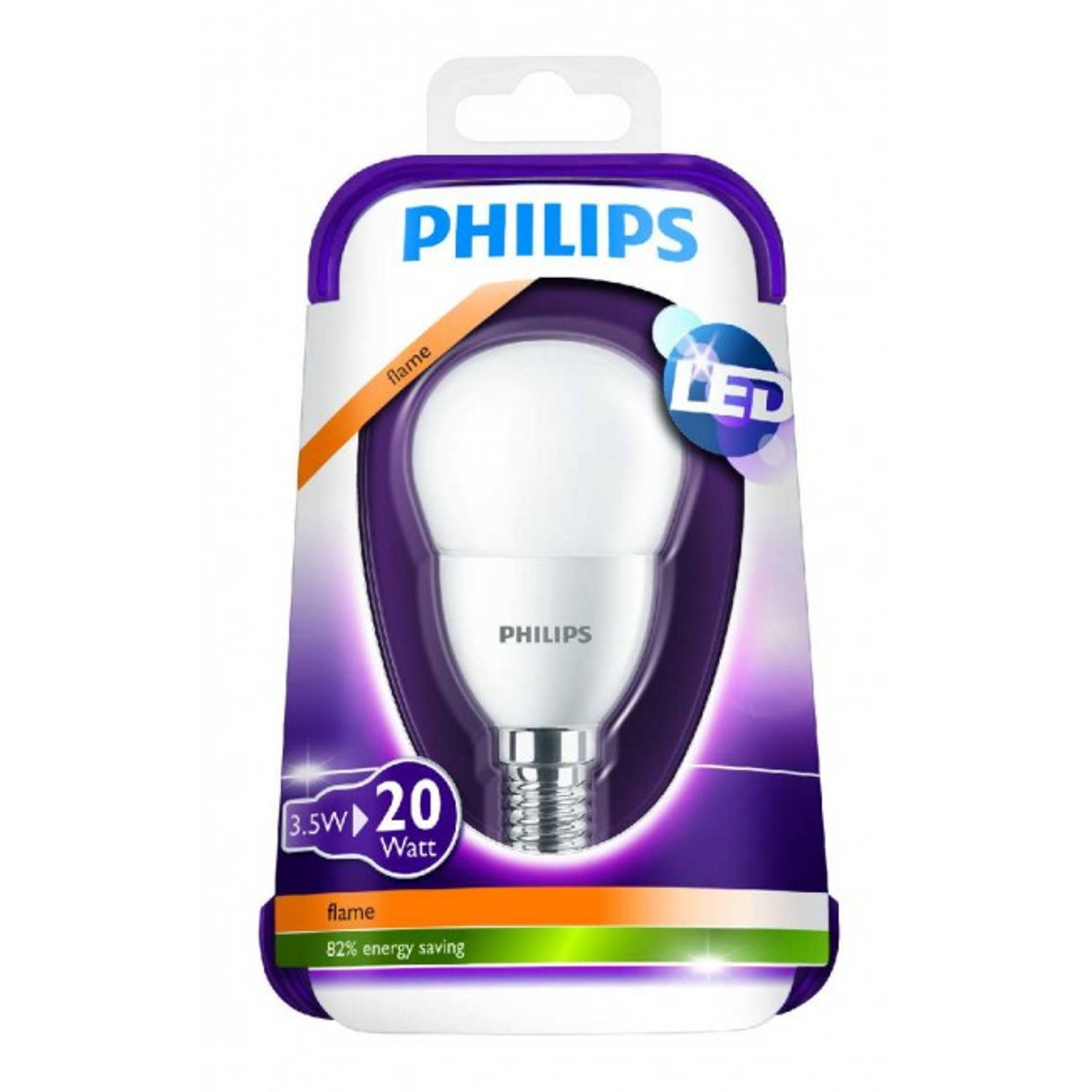 Philips Led kogellamp 3,5W E14 20W flame