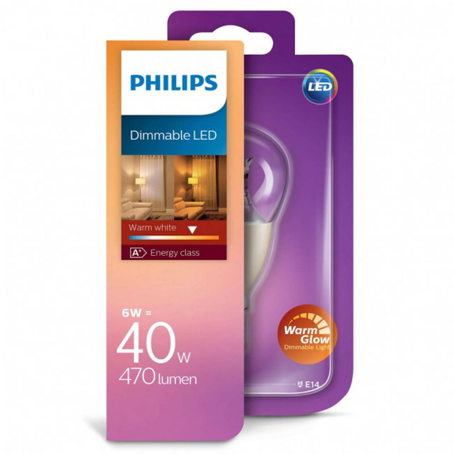 Philips Led kogellamp Warm Glow E14 6W dimbaar