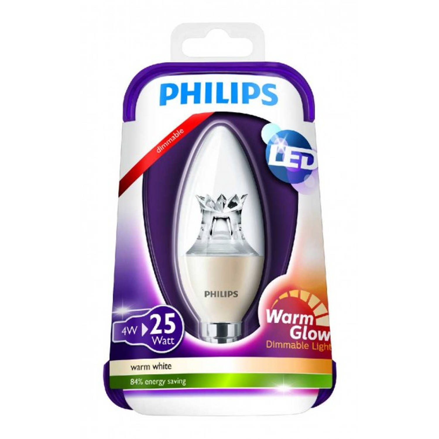 Philips Led kaarslamp Warm Glow E14 4W dimbaar