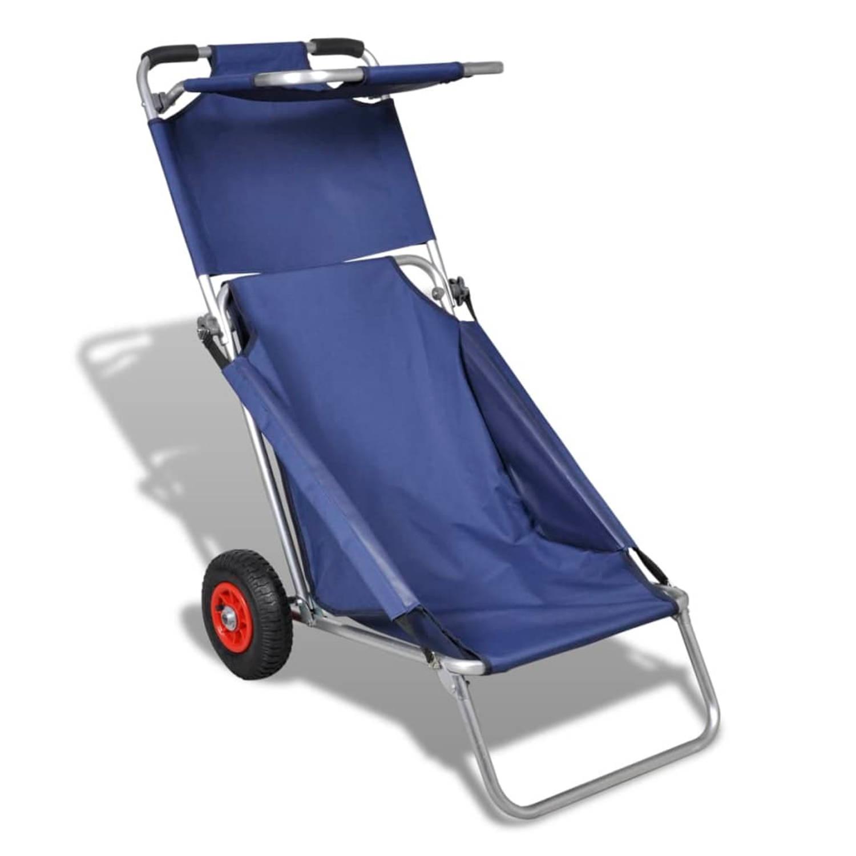 Draagbare 3-in-1 strandstoel met zonnedak/beach trolley/strandtafel