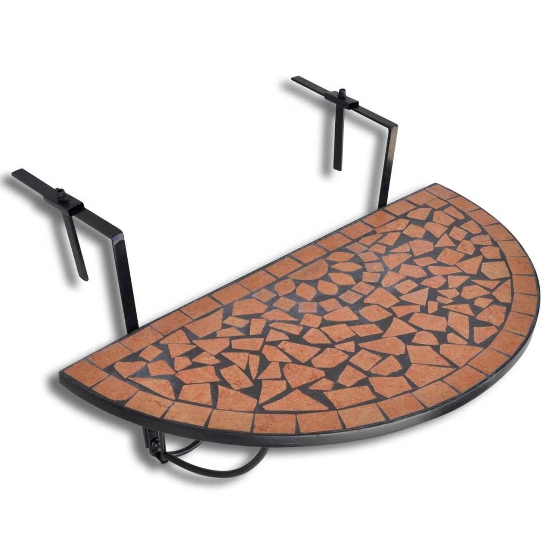 vidaXL Balkontafel hangend mozaiek terracotta half-rond