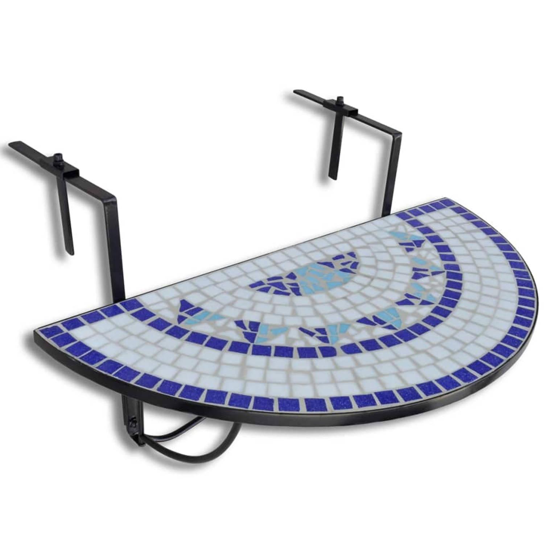 Vidaxl balkontafel hangend mozaiek blauw-wit half-rond