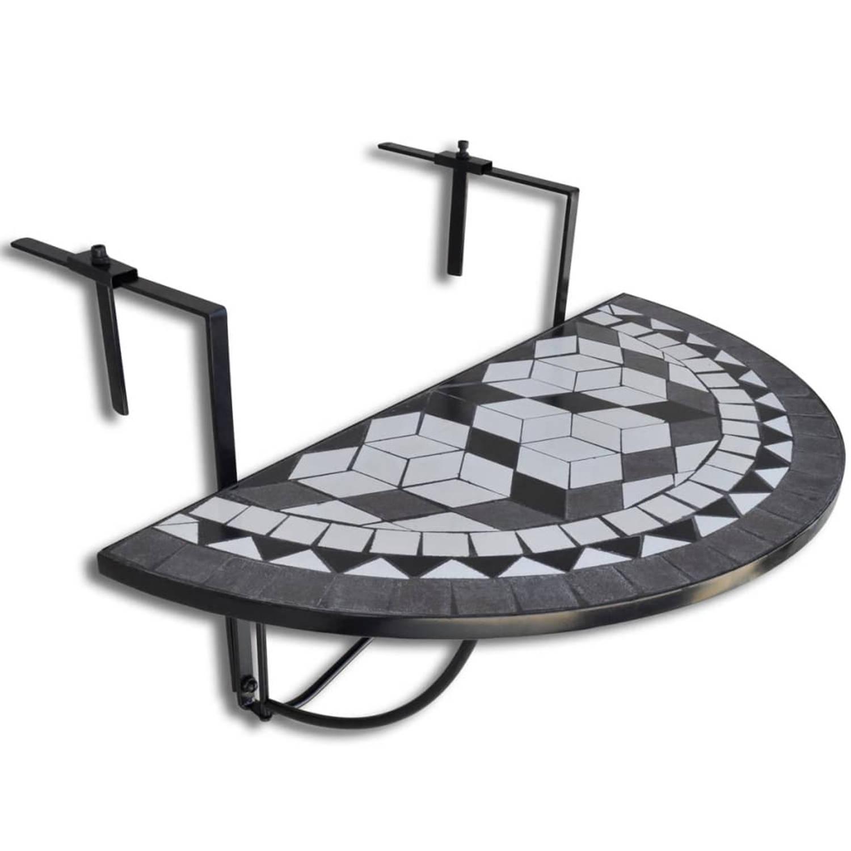 vidaXL Balkontafel hangend mozaiek zwart-wit half-rond