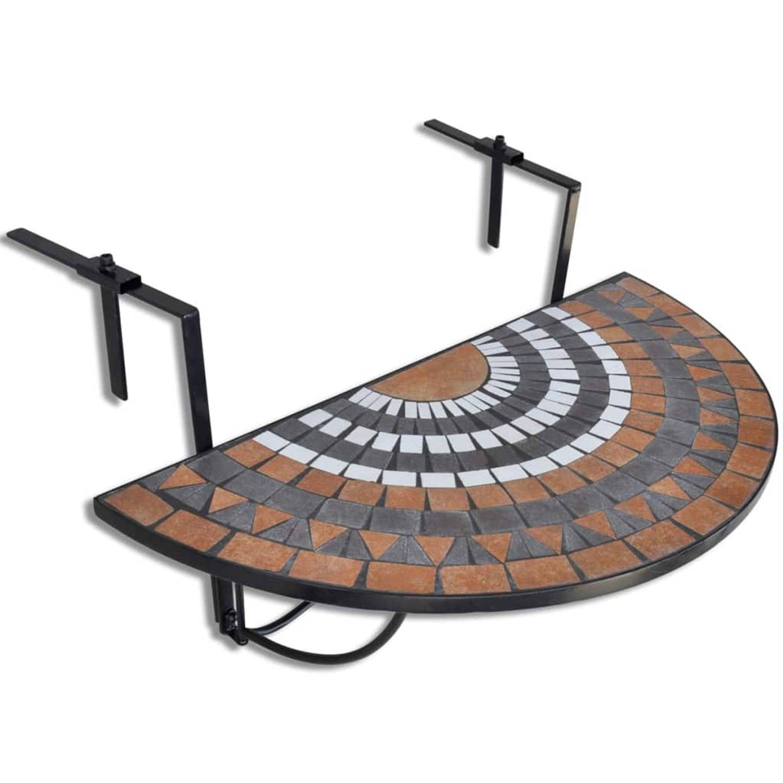 vidaXL Balkontafel hangend mozaiek terracotta-wit half-rond