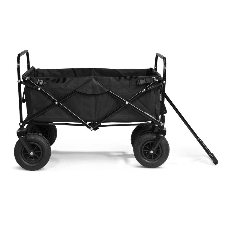 Bolderwagen met massieve wielen en opberghoes - zwart