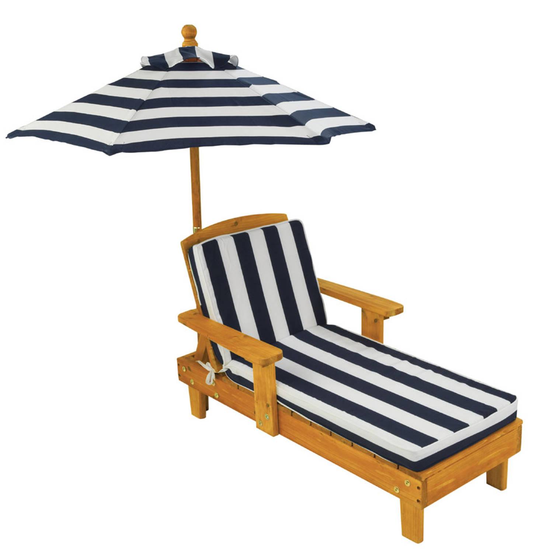 Chaise Longue voor buiten met parasol - marineblauw
