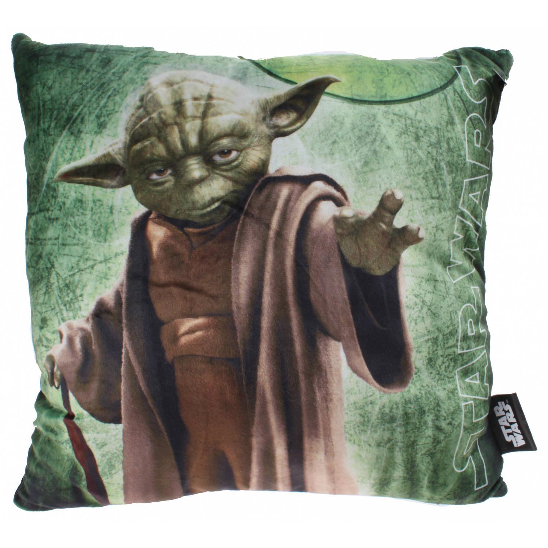 Disney Star Wars Yoda Kussen jongens groen 34 x 34 x 11 cm