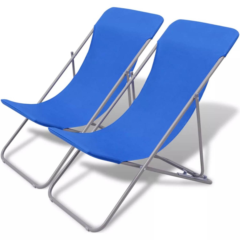 vidaXL Strandstoel inklapbaar blauw 2 st