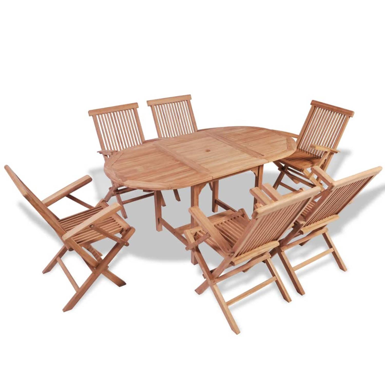 vidaXL Tuinset met verlengbare tafel teakhout 7 delig