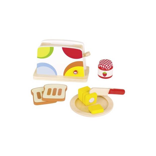 Goki houten speelgoed broodrooster set 10-delig