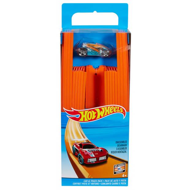 Hot Wheels baandelen met raceauto oranje 5 meter 37-delig