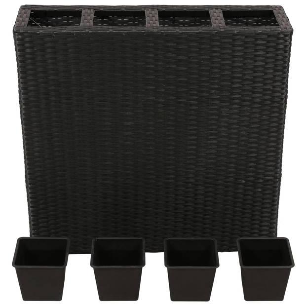 vidaXL Plantenbak verhoogd met 4 potten poly rattan zwart